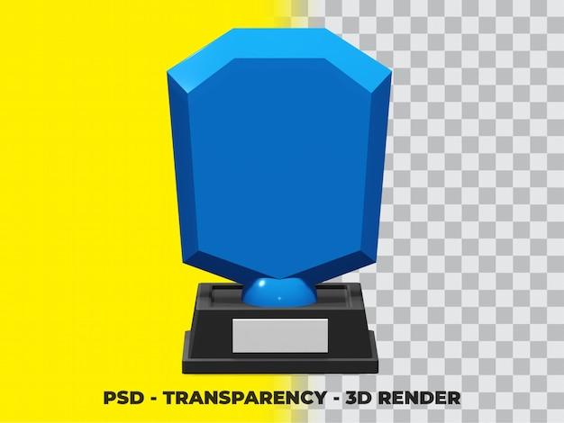 Trofeo di cristallo 3d con trasparenza render modeling premium psd