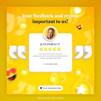 Recensione di feedback dei clienti 3d o modello di post di instagram di social media di testimonianza con mockup