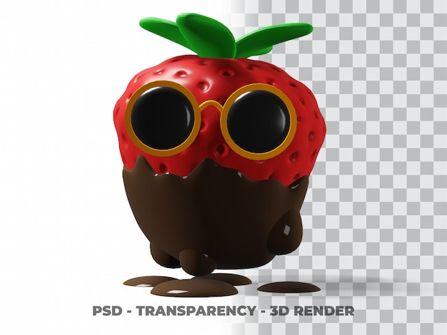Occhiali 3d con cioccolato alla fragola con sfondo trasparente