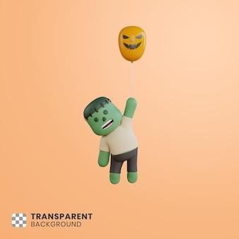 Simpatico personaggio di halloween 3d che galleggia con palloncini