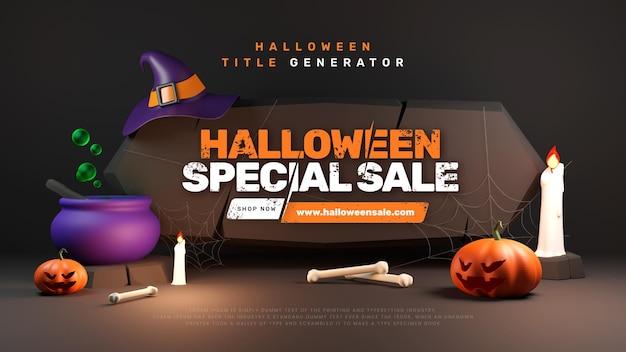 Testo del titolo della promozione di halloween spettrale carino 3d effec