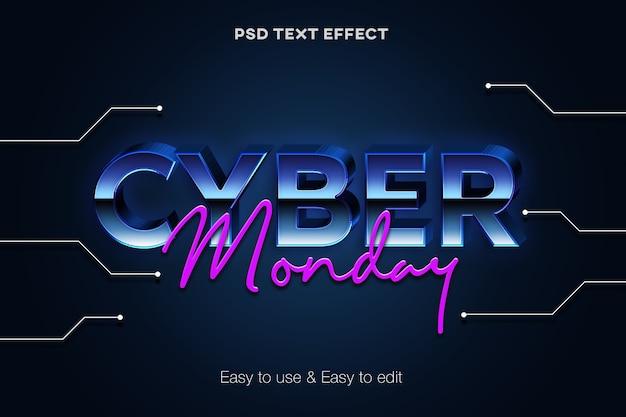 Effetto stile testo 3d cyber monday