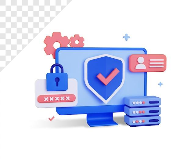 Sicurezza informatica 3d con grande monitor e password