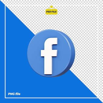 Icona facebook cerchio 3d