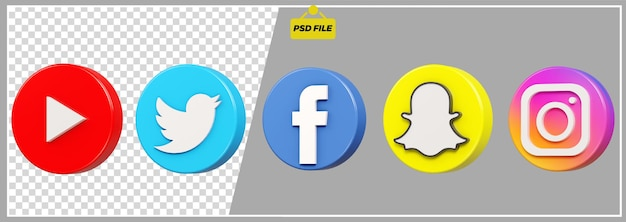Set di icone social media cerchio 3d Psd Premium