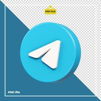 Icona del telegramma cerchio 3d