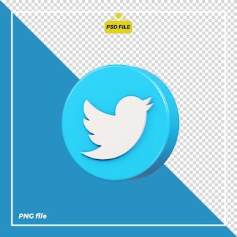 Icona di twitter cerchio 3d