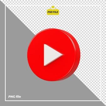 Icona youtube cerchio 3d