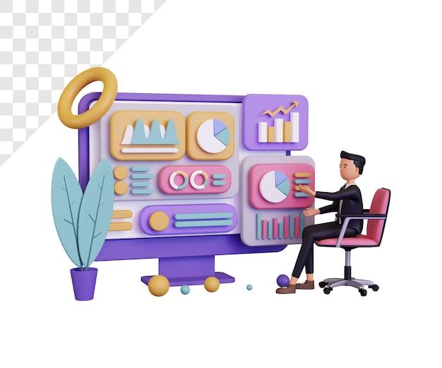 Informazioni sui dati 3d con carattere di uomo d'affari