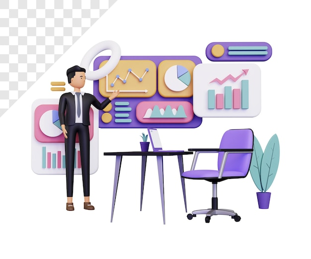 Informazioni sui dati 3d con presentazione di un uomo d'affari