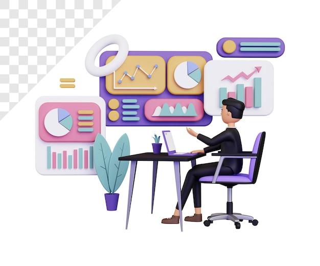 Informazioni sui dati 3d con uomo d'affari seduto