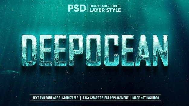 Effetto di testo in stile di livello oggetto intelligente modificabile in metallo subacqueo profondo 3d