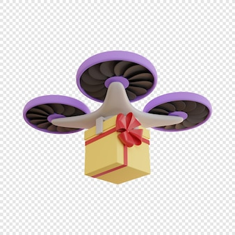 Consegna 3d tramite drone di un regalo in scatola gialla avvolta in un nastro rosso con consegna senza contatto con fiocco
