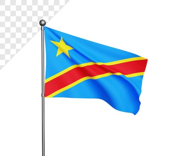 Illustrazione 3d della bandiera della repubblica democratica del congo