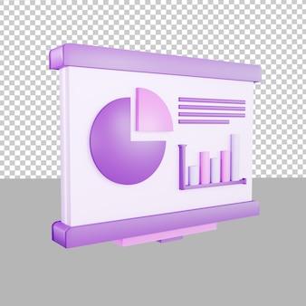 Illustrazione dei dati di presentazione dell'icona del design 3d per il business