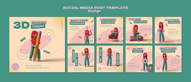 Modelli di post instagram di progettazione 3d