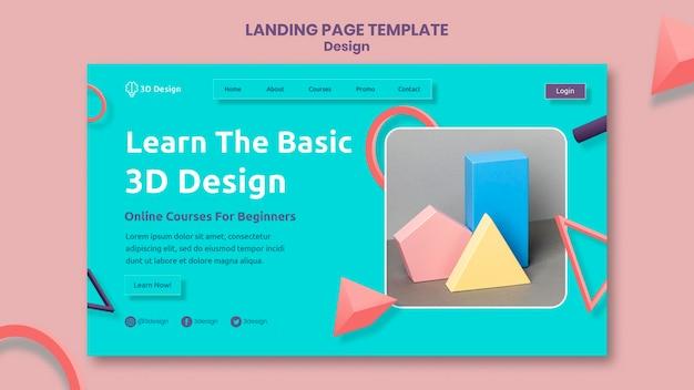 Modello di pagina di destinazione del design 3d