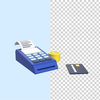 Il terminale di pagamento di progettazione 3d e l'illustrazione della macchina di posizione della carta di credito rendono il modello