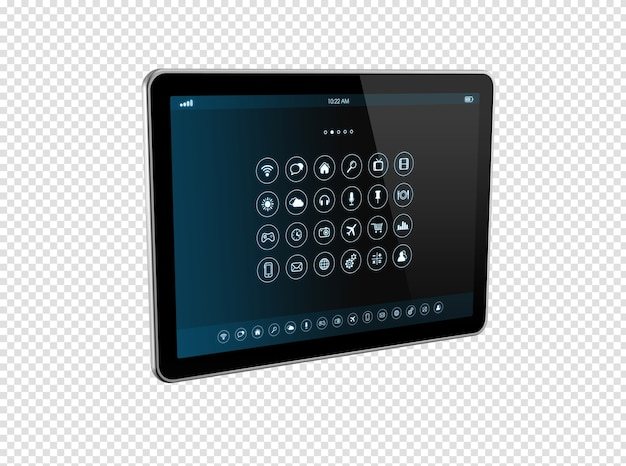 Tablet pc digitale 3d con interfaccia icone app isolata