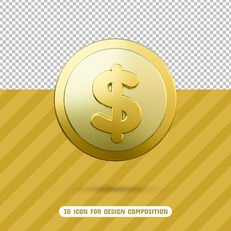 Icona della moneta del dollaro 3d nel rendering 3d isolato