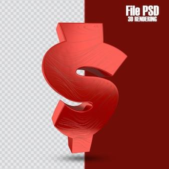 Icona della moneta del dollaro 3d nella rappresentazione 3d isolata