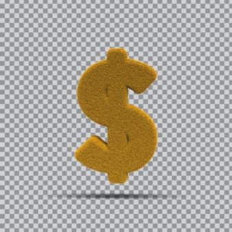 Simbolo del dollaro 3d da erba gialla