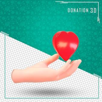 Mano di donazione 3d con un cuore con rendering 3d