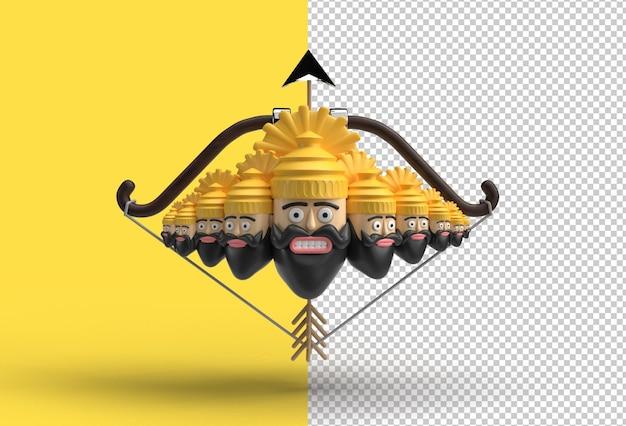Celebrazione di dussehra 3d - ravana dieci teste con arco e freccia file psd trasparenti.