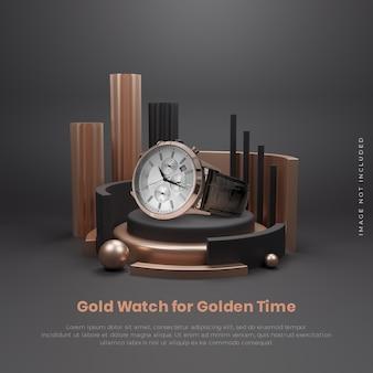 Posizionamento del prodotto sulla fase del podio dell'oro nero di lusso elegante 3d Psd Premium