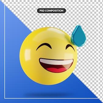 Faccia ghignante di emoji 3d con sudore isolato per la composizione nei social media