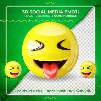 Emoji 3d isolato che mostra la lingua con gli occhi chiusi