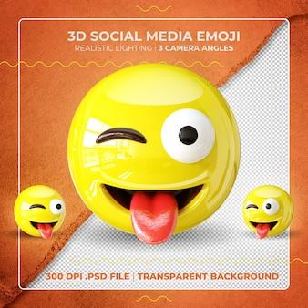 Emoji 3d isolato che mostra la lingua