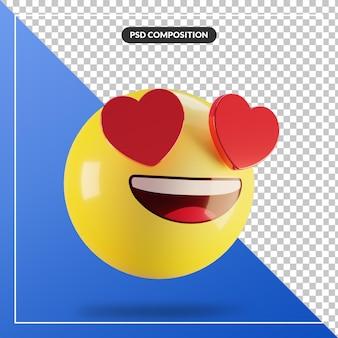 Faccia sorridente di emoji 3d con gli occhi del cuore isolati per la composizione nei social media