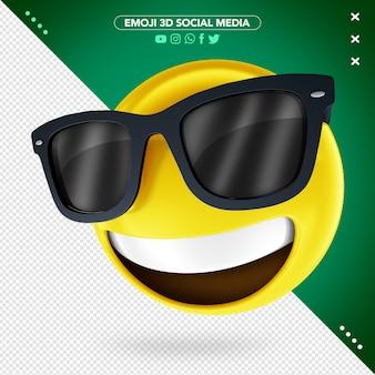 Emoji 3d con occhiali e un sorriso allegro