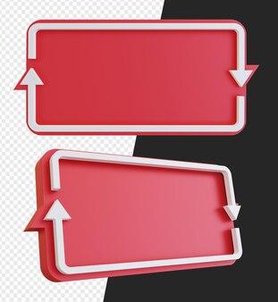 Banner vuoto 3d con simbolo di freccia di riciclo isolato