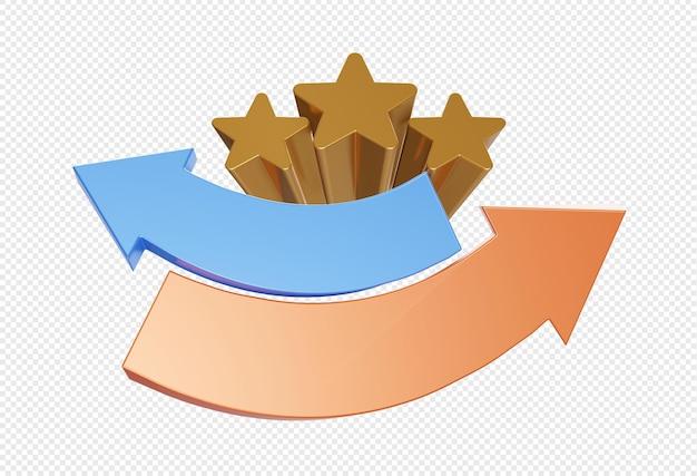 3d stella dorata vuota con simbolo di freccia o segno isolato