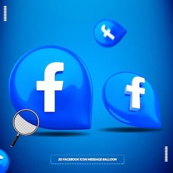 Icona di facebook 3d nel palloncino messaggio isolato per la composizione