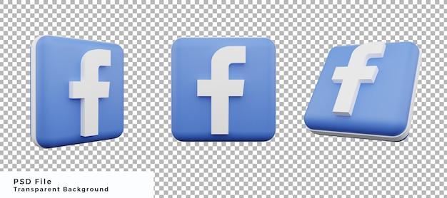 Pacchetto di progettazione elemento icona logo facebook 3d con varie angolazioni di alta qualità
