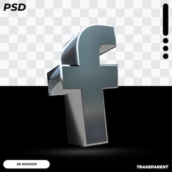 Logo facebook 3d con colore metallico