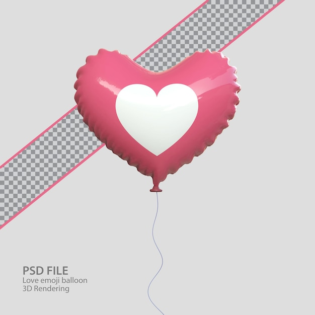 Emoji d'amore di facebook 3d con rendering in stile palloncino