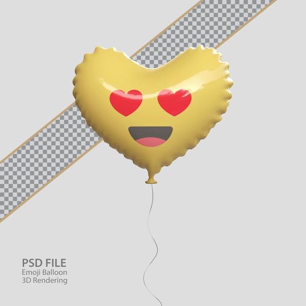 Emoji d'amore di facebook 3d con stile palloncino