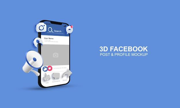 Post di facebook 3d e profilo su mockup mobile