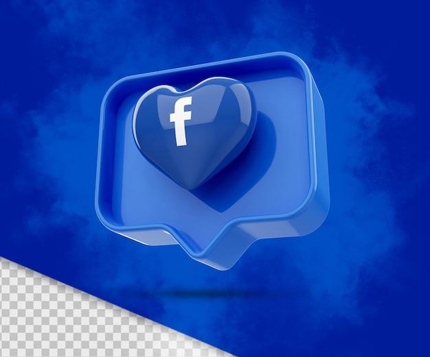 Icona di rendering 3d di facebook