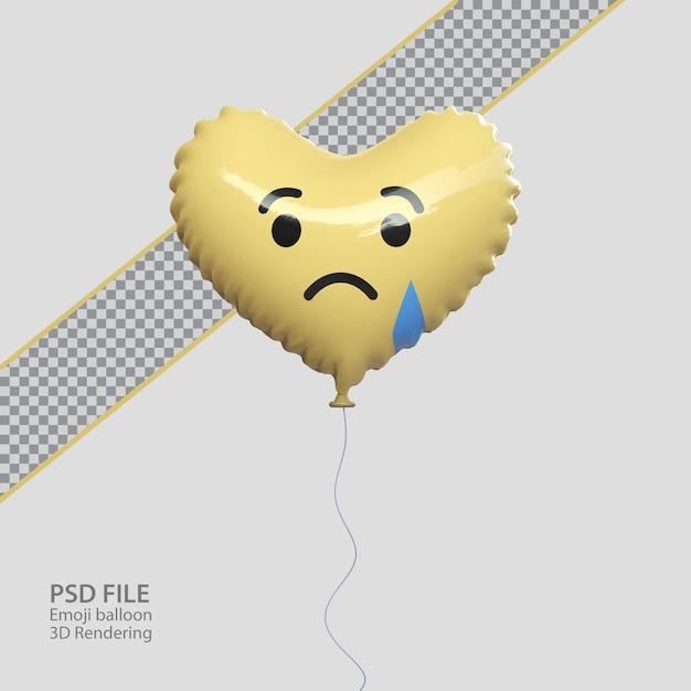 Emoji tristi di facebook 3d con stile palloncino