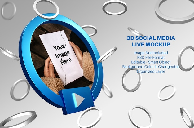 Mockup di streaming live di social media facebook 3d