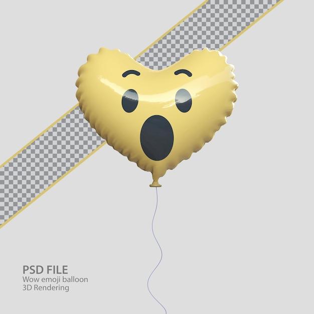 Emoji facebook wow 3d con stile palloncino