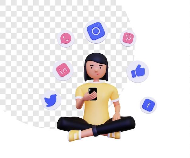 Il personaggio femminile 3d sta usando i social media