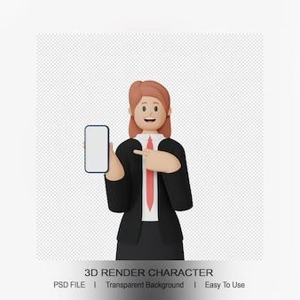 Personaggio femminile 3d che punta allo smartphone