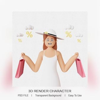 Personaggio femminile 3d con il sacchetto della spesa