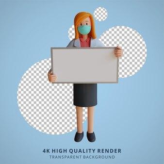 Dottoressa 3d che indossa una maschera con in mano un'illustrazione di design del personaggio di una lavagna bianca vuota